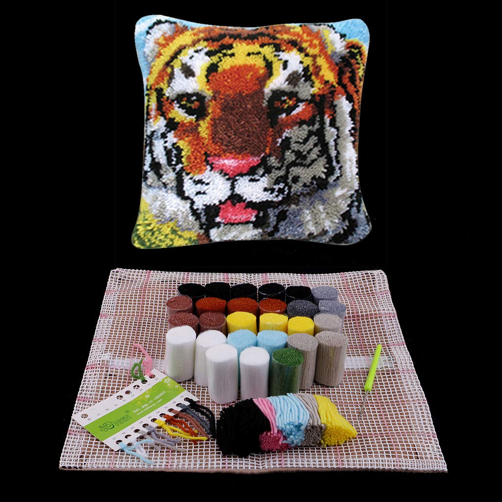 Prettyia DIY Needlecrafts Easy to Follow Butterfly Pillow Case Latch Hook Kit with Basic Tools and Instruction