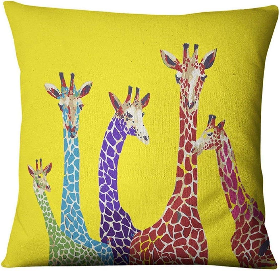 Amazon Com Nunubee Cotton Linen Throw Pillow Cover Case 18x18 Giraffe Giraffe2 18 X 18 Home Kitchen