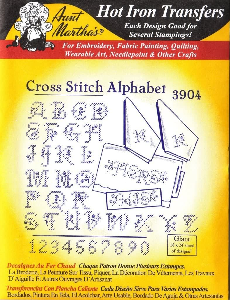 Cross Stitch Alphabet Aunt Martha's Hot Iron Embroidery Transfer