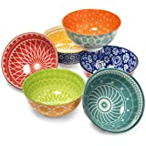 Annovero Dessert Bowls – Set of 6 Small Porcelain Bowls for Snacks, Rice, Condiments, Side Dishes, or Ice Cream, 4.75 Inch Di
