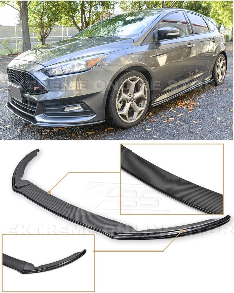 Extreme Online Store Replacement for 2015-Present Ford Focus ST MK3.5 EOS Add-On Bottom Line Carbon Fiber Front Bumper Lower Lip Splitter
