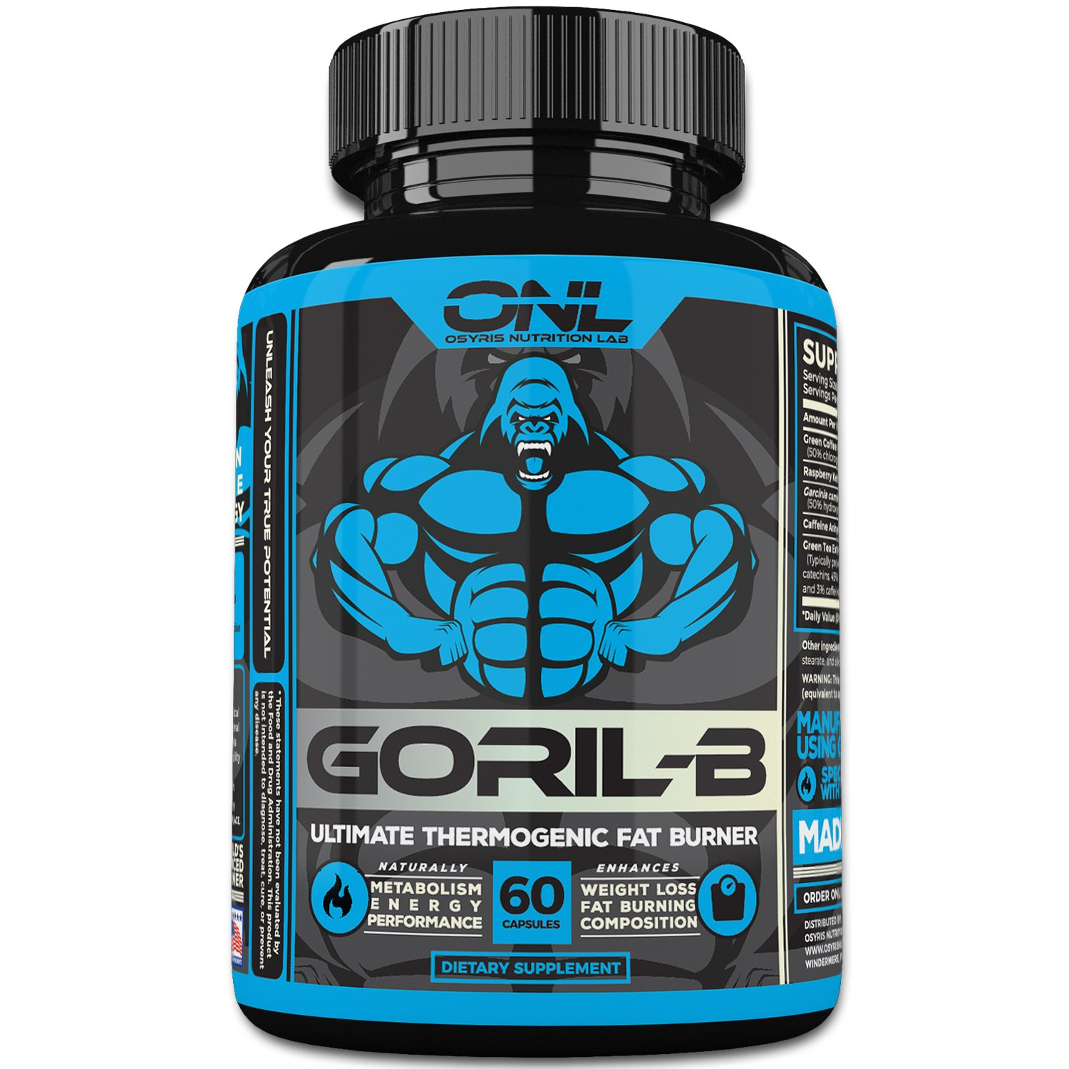 GORIL-B Thermogenic Fat Burner Pills (60 Capsules) Weight Loss Formula for Men and Women - Boost Metabolism, Increase Energy, Suppress Appetite - Diet Supplement Promotes Healthy Weight Loss by Osyris Nutrition Lab
