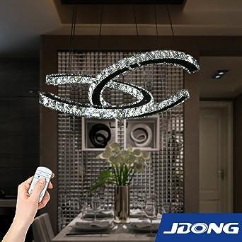 Led Pendelleuchte Dimmbar Mit Fernbedienung Steuerbare Farbtemperatur 42W  Glas Kristall Dekoration Fur Wohnzimmer, Schlafzimmer,