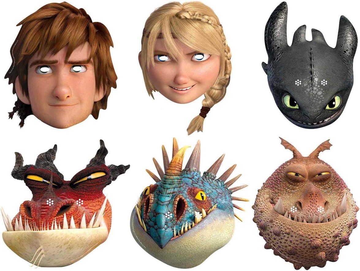 Star Cutouts–stsmp293–6máscaras para adulto–Dragon 2–6personajes surtidos–talla única