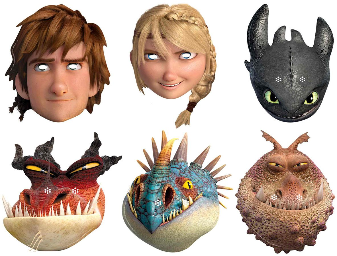 Star Cutouts SMP293 Hiccup/Astrid/Toothless/Monstrous Nightmare/Nadder and Gronckle How to Train Your Dragon 2 Mask, One Size