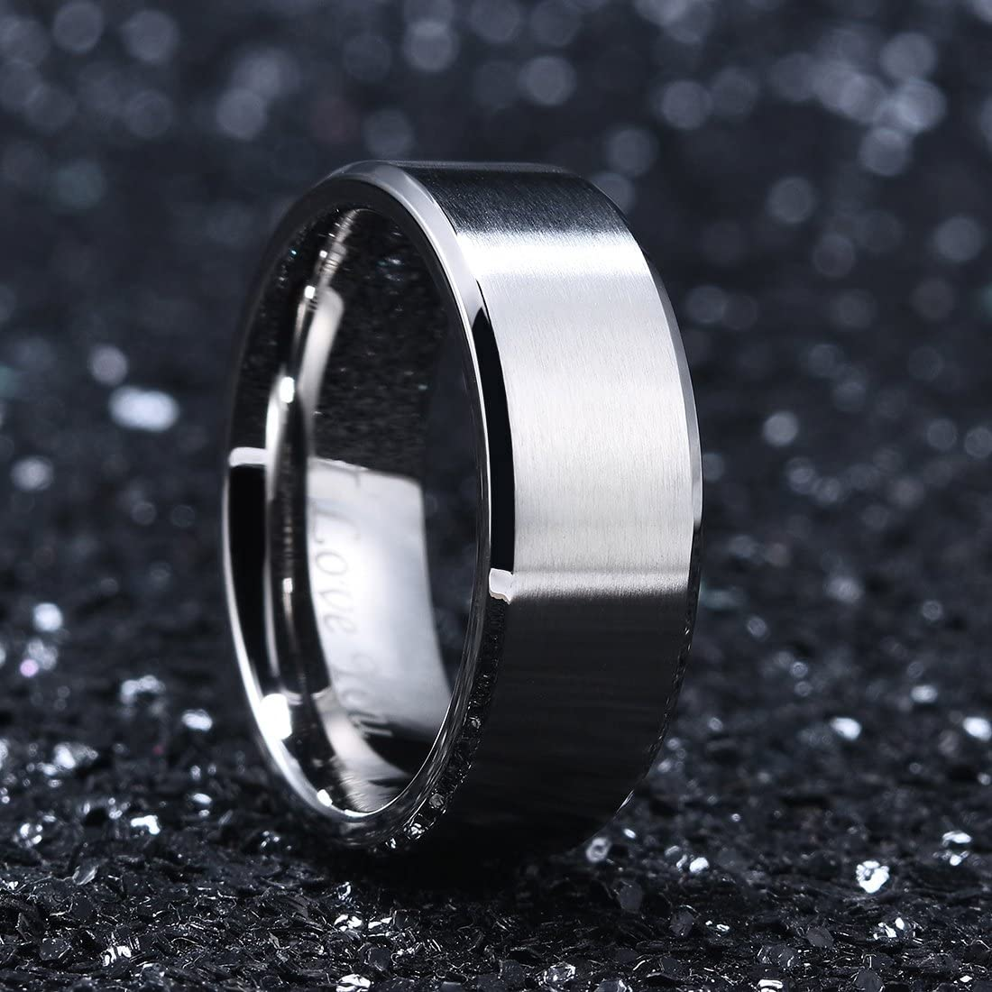 King Will 4mm//6mm//8mm Stainless Steel Ring Matte Finish /& Polished Beveled Edge with I Love You