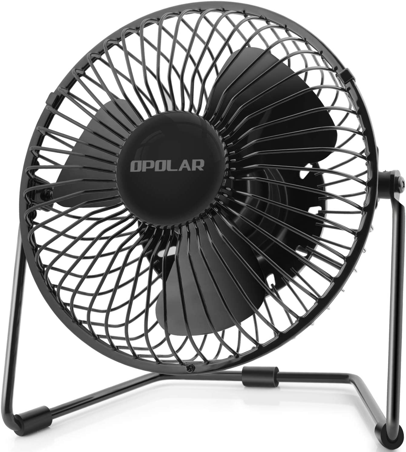 OPOLAR 5-Inch USB Desk Fan, Portable Mini Personal Fan with Two Speed-Settings, Super Quiet, Metal Design, 360 Up and Down, Perfect for Home, Office