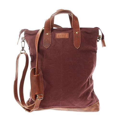5dcd587ebf2ab LECONI Shopper Leder + Canvas Vintage-Look Umhängetasche für Damen  Henkeltasche große Beuteltasche DIN A4