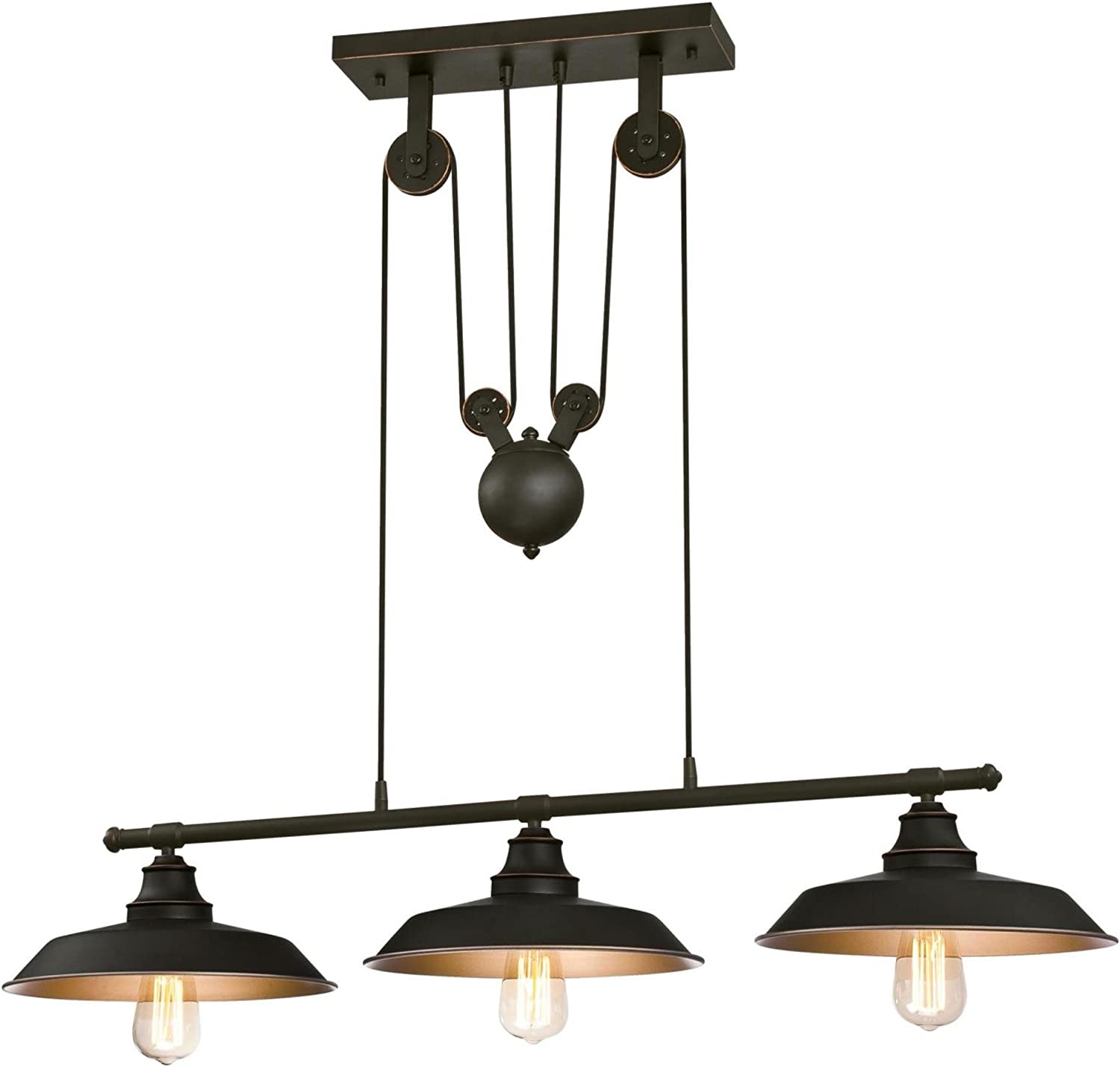 Westinghouse Lighting 6332500 Iron Hill Three-Light Indoor Island Pulley Pendant, Finish with Highlights and Metallic Interior, 3, Oil Rubbed Bronze/Bronze - -
