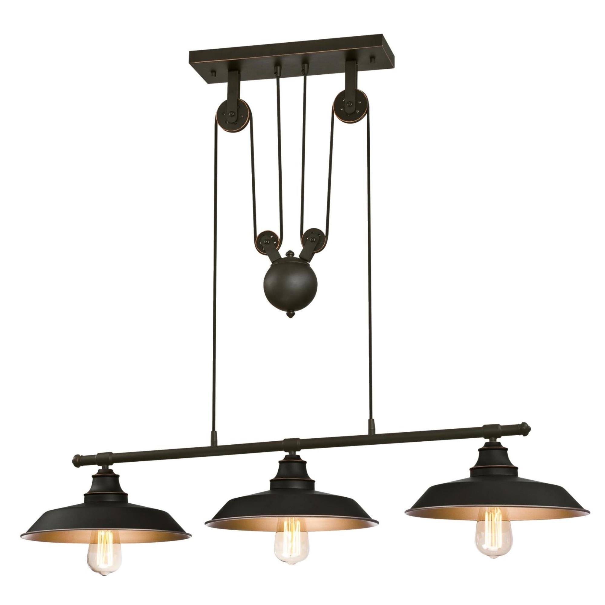 Westinghouse Lighting 6332500 Iron Hill Three-Light Indoor Island Pulley Pendant, Oil Rubbed Finish with Highlights and Metallic Bronze Interior, 3 by Westinghouse Lighting
