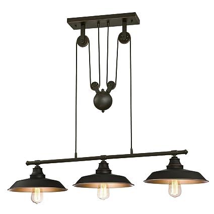 Amazoncom Westinghouse Iron Hill Indoor Pulley Pendant - Three light island pendant