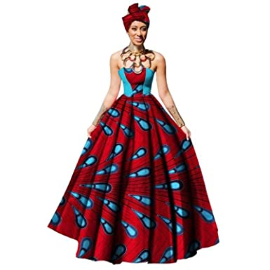09c3bba484b1 Amazon.com: African Women Dress Dashiki Print Maxi Ball Gown Strapless  Party with X11330: Clothing