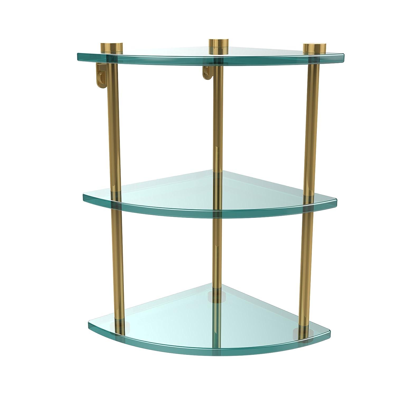 Allied Brass NS-6-ABR Three Tier Corner Glass Shelf Antique Brass