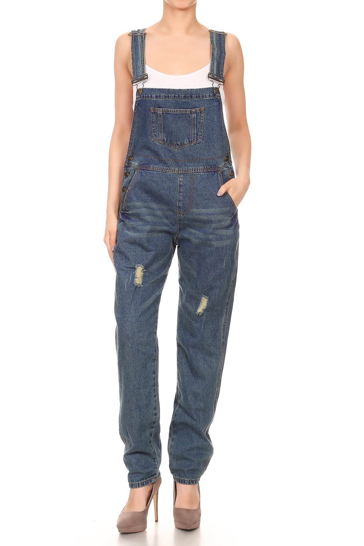 Anna-Kaci Womens Blue Denim Distressed Raw Scratch Style Tapered Leg Overalls Small Blue