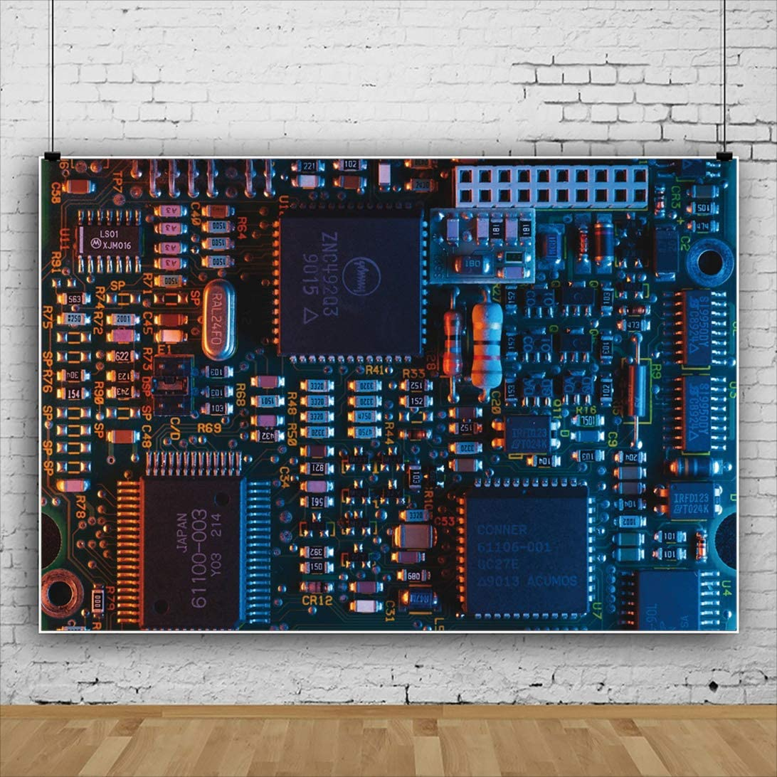 YEELE 7x5ft Circuit Board Backdrop Japan Electronics Industrial Photography Background Manufacturing Theme Room Decoration Kids Adults Artistic Portrait Photoshoot Props Digital Wallpaper