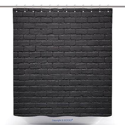 Vanfan Cool Shower Curtains Horizontal Part Black Painted Brick Wall Polyester Bathroom Curtain Set