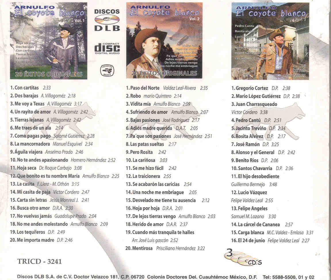 ARNULFO EL COYOTE BLANCO - 56 EXITOS DE ARNULFO EL COYOTE BLANCO - Amazon.com Music