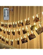 Tira de luz LED con pinzas para colgar 40 fotos, ideal como decoración habitual o para ocasiones especiales (tono blanco cálido)