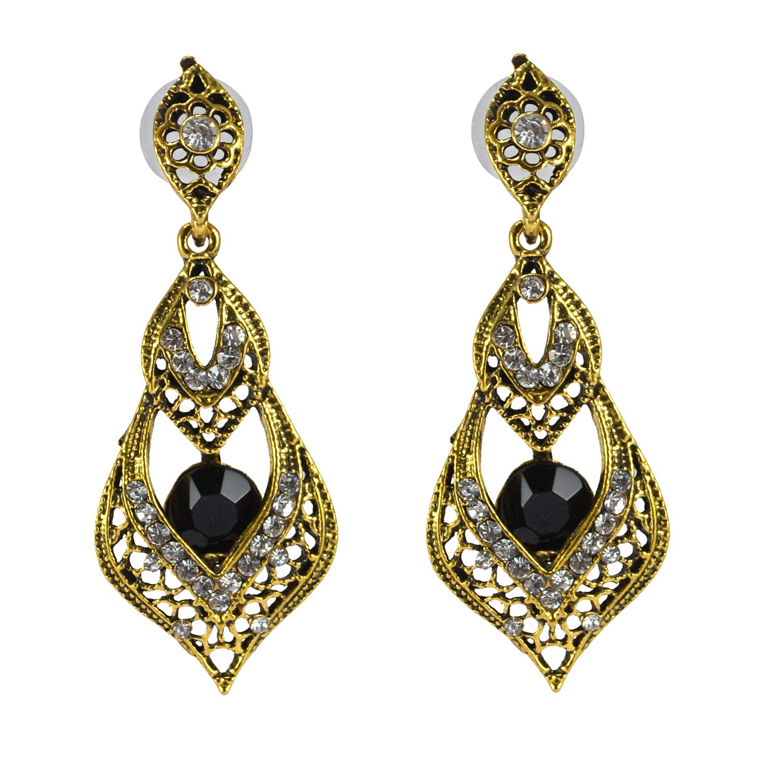 Saamarth Impex Black Onyx /& Cubic Zircon Gold Plated Dangle Earring PG-155660