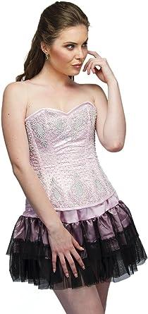 Pink Satin Black Frill Gothic Retro Burlesque Waist Training Bustier Plus Size Overbust Corset Top