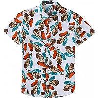 EElabper Camisa de playa para hombre, camisa hawaiana con estampado de hojas, informal, para parejas