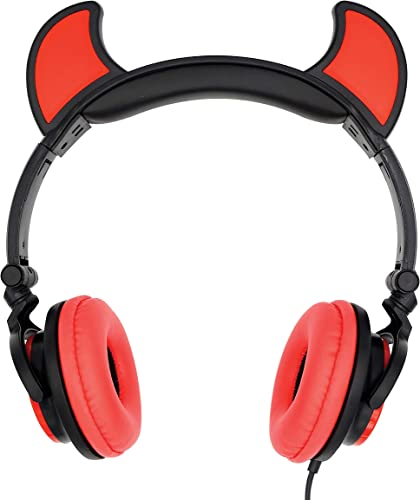 Gabba Goods Premium LED Light Up in The Dark Devil Over The Ear Comfort Padded Stereo Headphones with AUX Cable Earphones