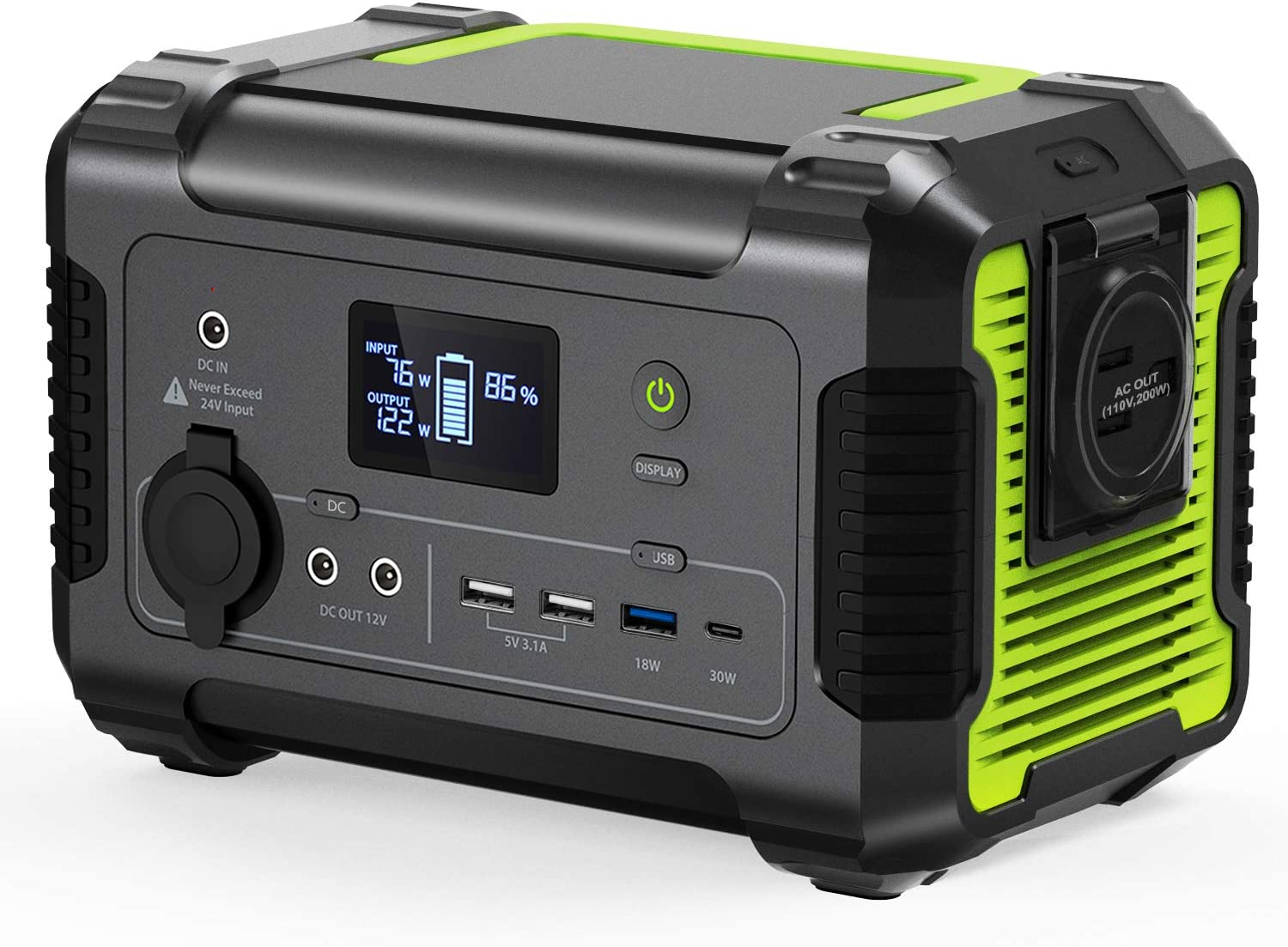 Portable Power Station, 230Wh/62400mAh Camping Generator Emergency Backup Battery, 110V/ 200W (300W Peak) US Standard AC Outlet, QC 3.0 USB,Type-C PD Port, 12V DC for Outdoor Camping Power Supply