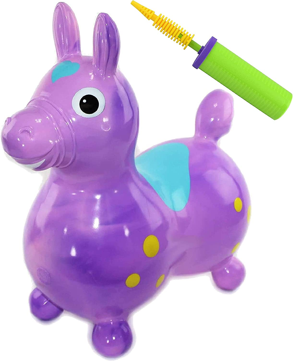 GYMNIC Rody Horse Inflatable Bounce & Ride, Matty's Toy Stop Exclusive Purple & Pink Swirl (70254) with Pump
