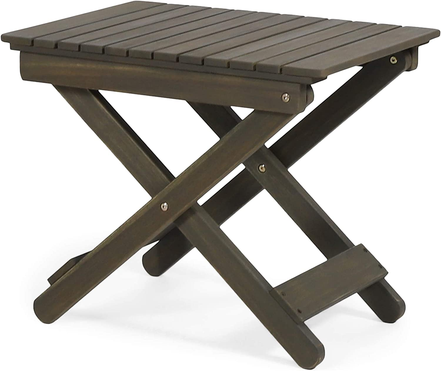 Christopher Knight Home 312839 Clementine Outdoor Folding Side Table, Gray : Garden & Outdoor