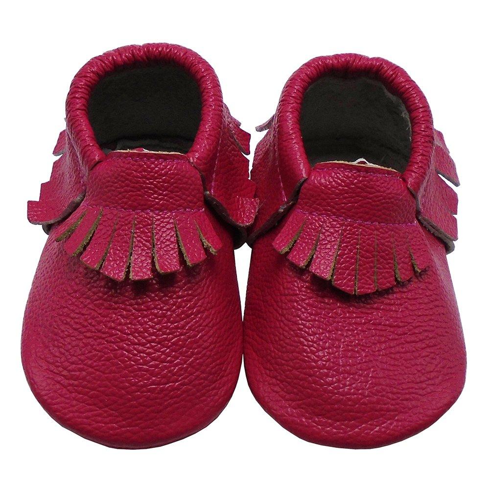 Mejale Baby Tassels Leather Shoes Soft Sole Infant Toddler Boys Girls Moccasins