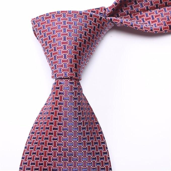 HXCMAN 8cm vino rojo borgoña cuadros corbata Diseño clásico 100 ...