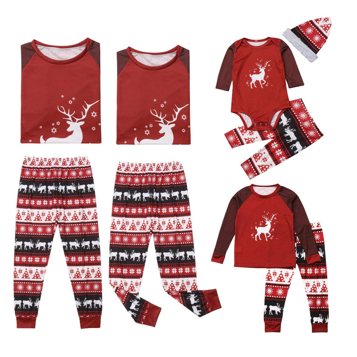 Family Matching Christmas Stripes Deer and Santa Claus Pajamas for Kids Mom and Dad Sleepwear Family Clothing Outfits douleway