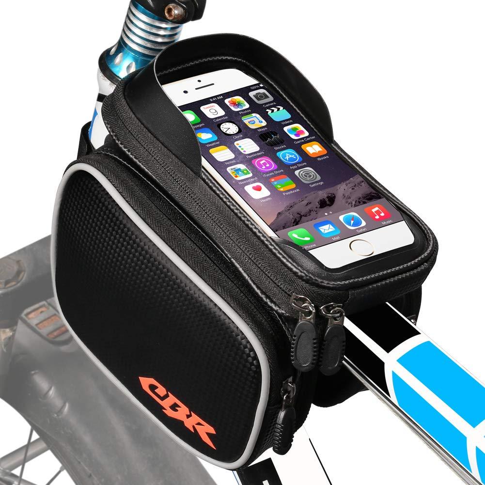 /Écran Tactile TPU Double Pouch Support Telephone Velo Au-Dessous de 6,3 Pouces ZOTO Sacoche de Cadre Velo Imperm/éable Sacoche VTT pour Smartphone