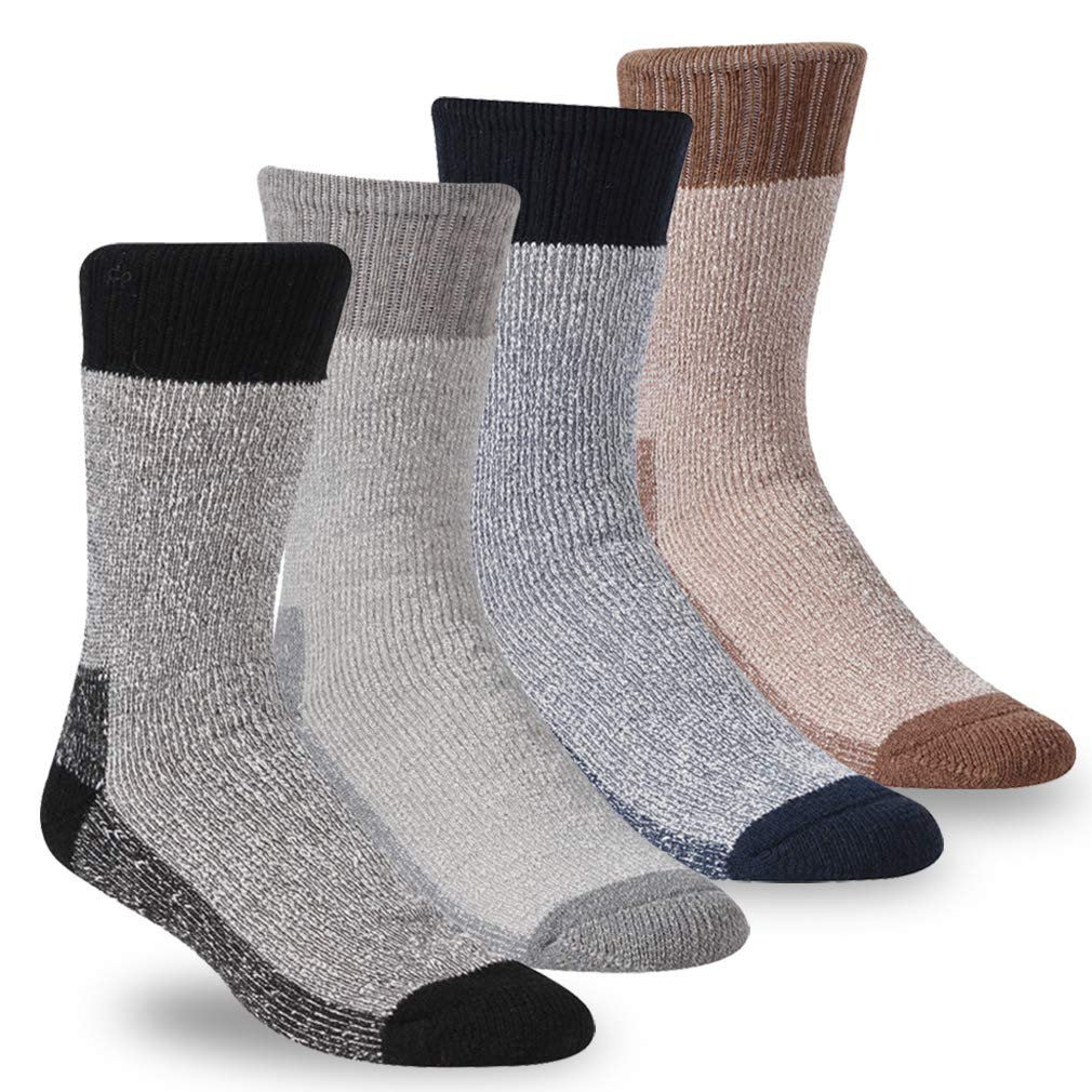 RTZAT Men's Mountaineering Hiking Full Thickmess Thermal Performance Outdoor Crew Socks, Multicolored, 4 Pairs, X-Large by RTZAT
