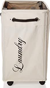Luxunik Upgraded Rolling Laundry Hamper with Wheels, Rolling Hamper, Rolling Laundry Basket with Wheels, Laundry Hamper on Wheels, Wheeled Laundry Basket, Ivory, Two Bonus Mesh Bags