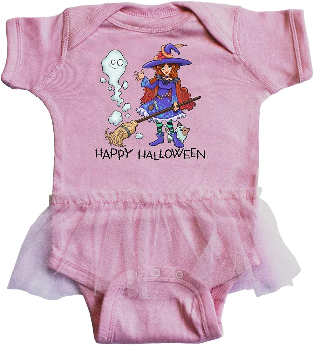 inktastic Happy Halloween Cute Witch with Patchwork Cat and Infant Tutu Bodysuit