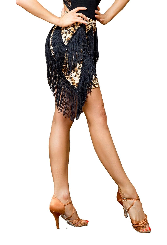 (SBS)leopard Superstar Series G2044 Latin Ballroom Dance Professional Two Layer Oblique Splicing Tassels Swing Design Skirt