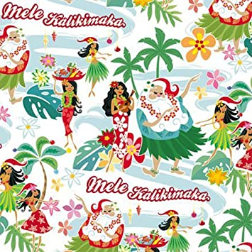 Hawaii Christmas.Santa S Holiday Hula Honeys Hawaiian Christmas Gift Wrap Paper 2 Rolls