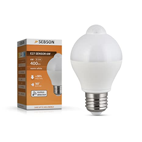 SEBSON® LED Bombilla E27 Sensor, detector de movimiento, sensor crepuscular, 6W,