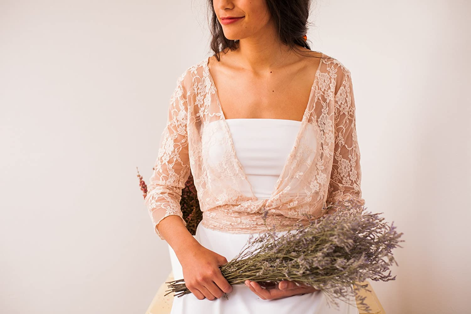 Amazon.com: Champagne lace shrug, champagne lace bolero, light beige wedding top, lace bridal top, champagne lace cover up, light beige lace wrap top: ...