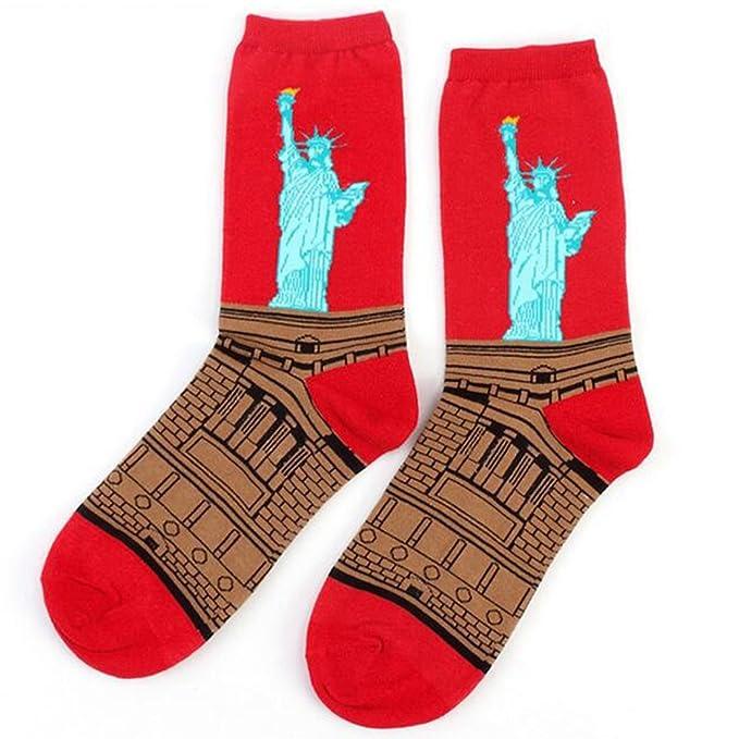 YAMALL Calcetines con estilo retro pintura al óleo Hombres estilo calcetines hombres puro algodón-Estatua de la libertad: Amazon.es: Ropa y accesorios