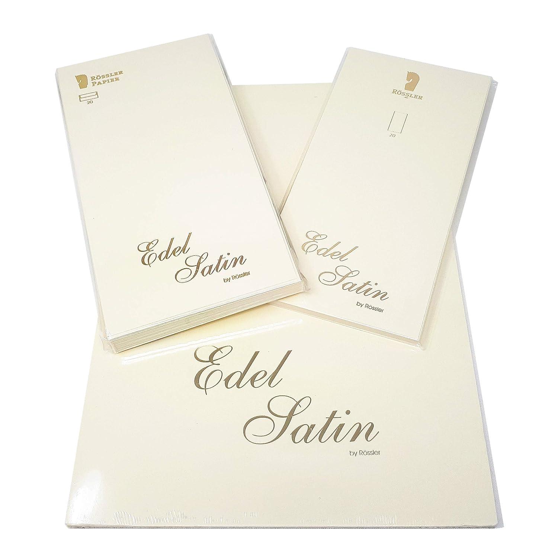 R/össler Papier Edel Leinen 3er Set 20 und Karten DIN Lang Umschl/äge 20 Briefblock DIN A4 Ivory - mit Leinenpr/ägung