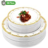 Disposable Plastic Party Plates Gold Rim, 50 Premium Heavy Duty 10.25 Inch Dinner Plates and 50 Disposable 7.5 Inch…