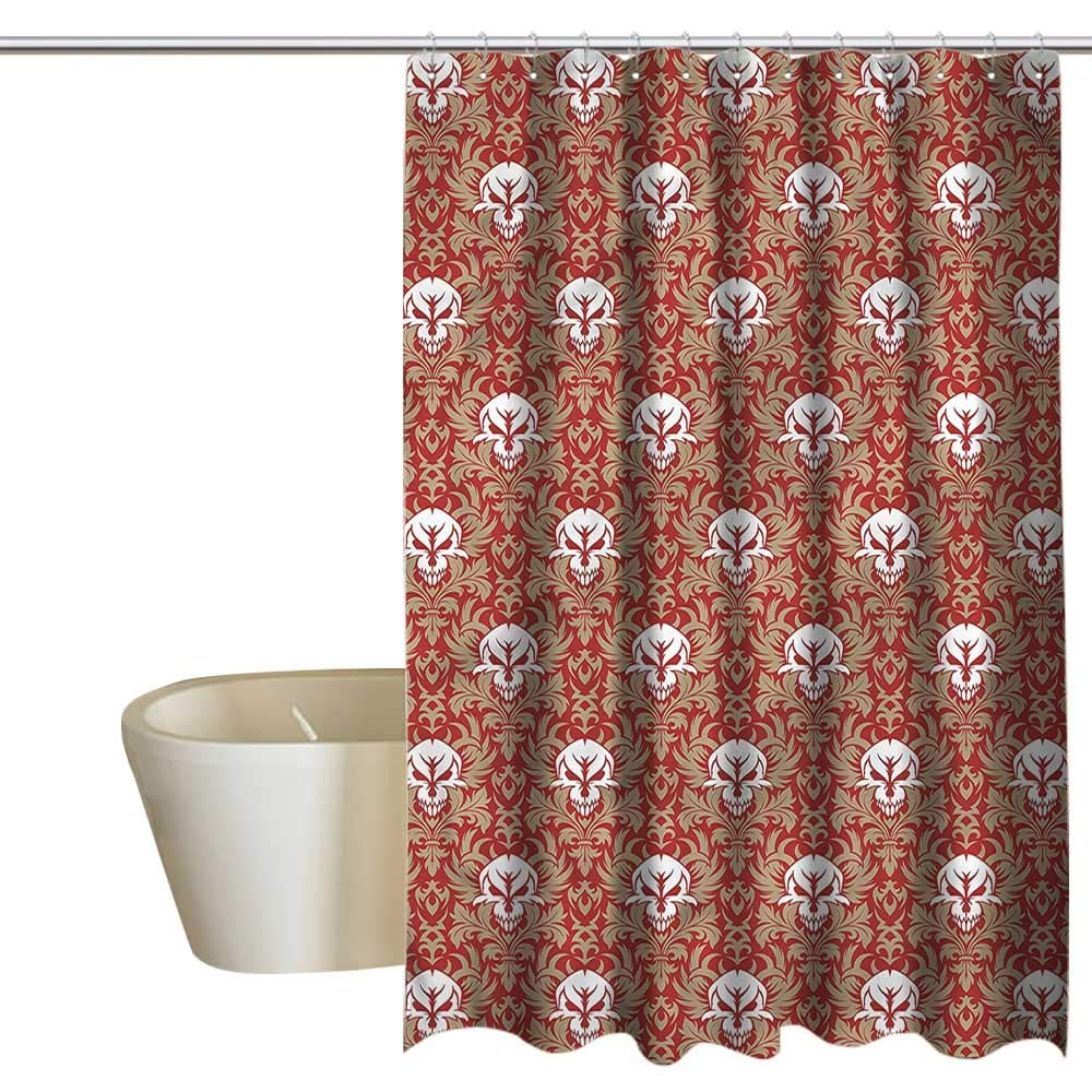 Denruny Shower Curtains for Bathroom Dog Gothic,Baroque Floral Skulls,W108 x L72,Shower Curtain for Shower stall