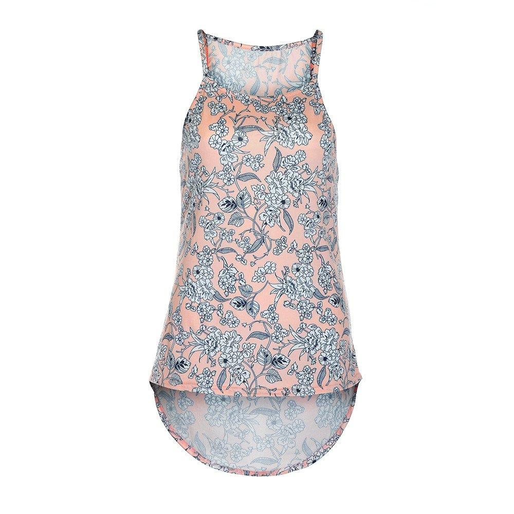 Danhjin 2019 Fashion Women's Print Floral Sleeveless Wide Strap Scoop Neck Tank Top Pink