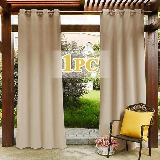 PONY DANCE Cortinas Opacas Dormitorio Salon Moderno - Cortinas Exterior Jardin Puerta Color Beige 1 Unidad, 132 x 274 cm (An x Al), Separadores Ambientes para Habitacion Infantil Oficina Hotel: Amazon.es: Jardín