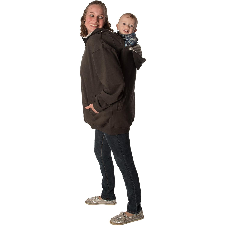 RooCoat Babywearing /& Maternity Coat 2.0 Black with Black Stripes Large