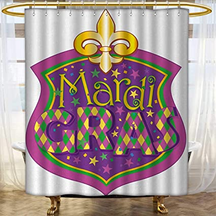 Anhounine Mardi Gras Shower Curtains Digital Printing Blazon Design Festive Inscription And Fleur De