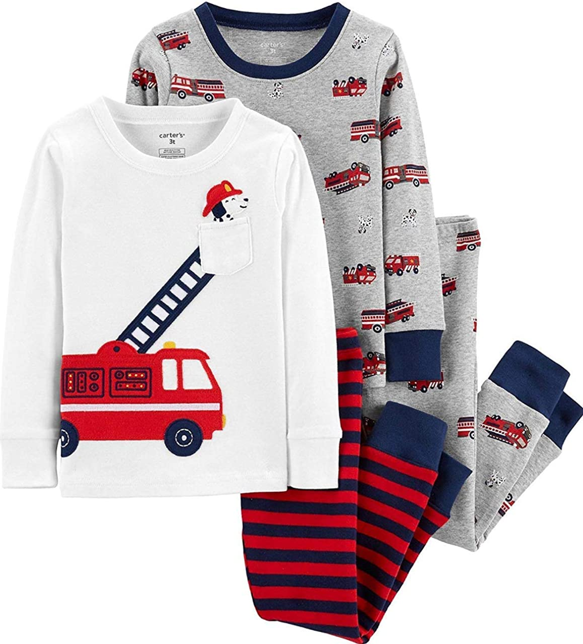Carters 4 Piece Bear PJ Set (9 Months, Firetruck) (9, Red): Amazon.es: Ropa y accesorios