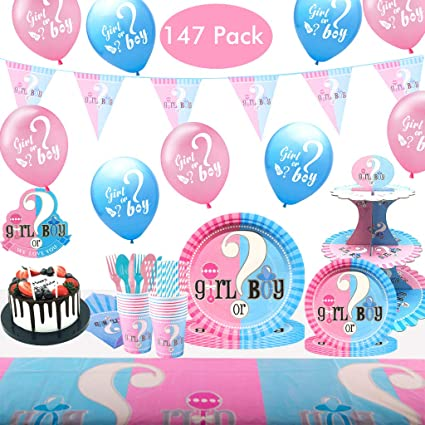 Girl Boy Plates Gender Reveal Party Supplies Serves 16 Napkins